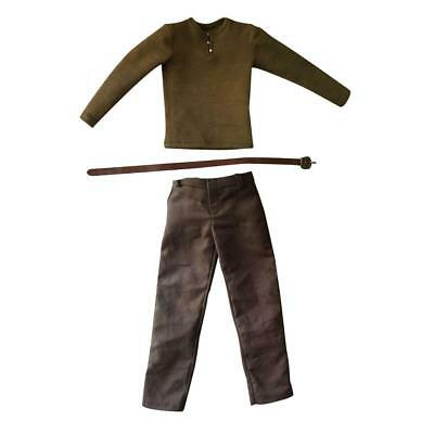Army Long T-shirt Trousers wi/ Belt for 1/6 12'' Male Hot Toys Enterbay DID