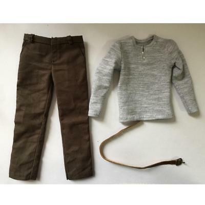 Gray Long T-shirt Trousers wi/ Belt for 1/6 12'' Male Hot Toys Enterbay DID