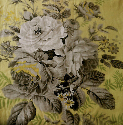 Antique Vintage English Polished Cotton Roses Floral Fabric ~ Yellow Gray Green