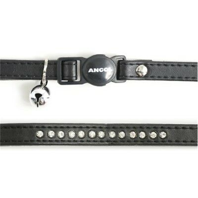 Deluxe Jewel Cat Collar With Safety Buckle Black - Ancol Diamante Bell Kitten