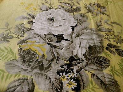 Antique Vtg English Polished Cotton Lush Roses Floral Fabric ~ Yellow Gray Green