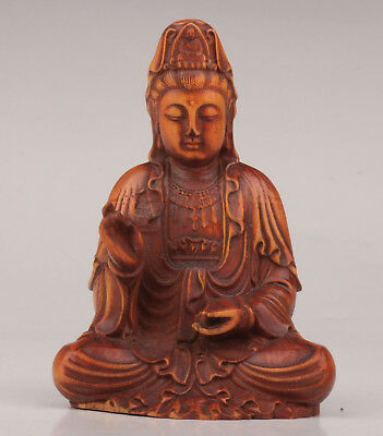 Boxwood Carved Into Kwan-Yin Statue Buddha Collectable Old Decoration