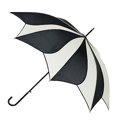 Blooming Brollies Swirl Auto Stick Umbrella - Black/Cream