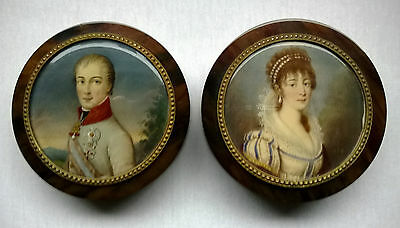 Superb Pair of Signed French Hand Painted Miniature Circular Snuff Boxes c1870