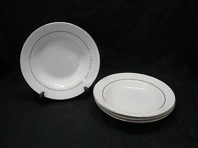 Gibson Housewares Coupe Soup Cereal Bowls White Gold Band & Trim Set of 4