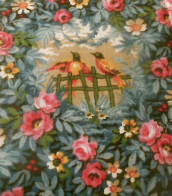 Antique Sweetest Floral Roses Bird Cotton Fabric ~ Pink Olive Gray Blue Gold