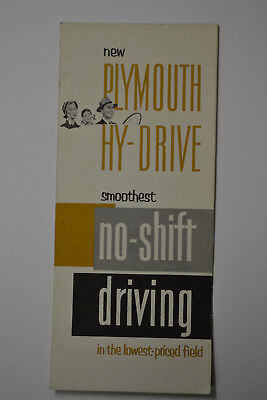 1950's Plymouth HY-Drive No Shift Vehicles Brochure-Booklet-Catalog