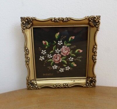 Vintage Embroidered Austrian Petit Point Flower Picture Panel,Ornate Gold Frame