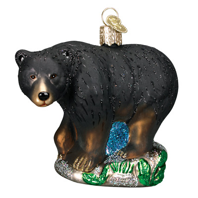 """Black Bear"" (12207)X Old World Christmas Glass Ornament w/OWC Box"