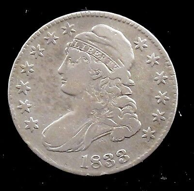 1833 Very Fine Details (cleaned) Capped Bust Silver Half Dollar - ch31