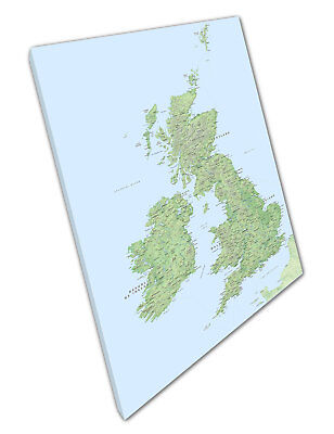 UK map Roads Rivers Hills Cities Towns Great Britain Ready to Hang Canvas X1822