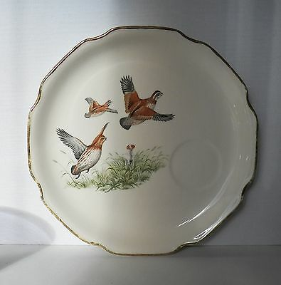 Vintage Georgian China Luncheon Plate With Pheasants In Flight Game Birds 22Kt