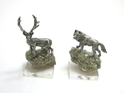 Vintage Pewter Wolf And Deer Or Elk Animals On Gold Nugget