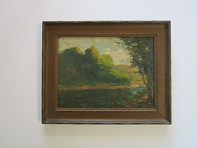 Antique American Landscape Painting Plein Air Landscape Signed 19Th Century