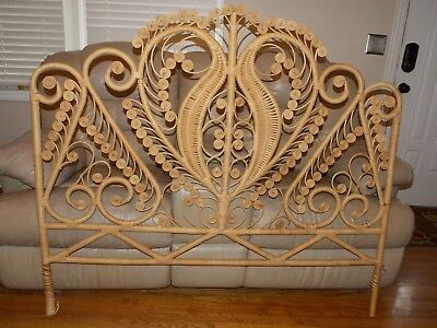 Vintage Woven Wicker Bamboo Full / Double Headboard Bed   RARE