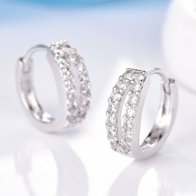 Fashion Women Wedding Jewelry Clear Sapphire Crystal White Gold Filled Earrings