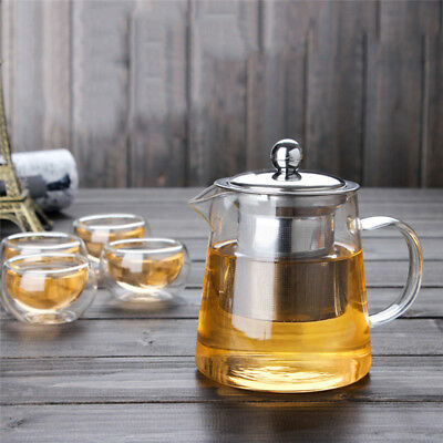 950mL Heat Resistant Clear Glass Teapot Stainless Steel Infuser Flower Tea Pot