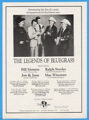 1986 Legends Of Bluegrass Bill Monroe Ralph Stanley Jim Jesse Mac Wiseman Ad