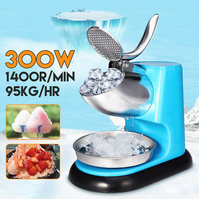 300W Ice Shaver Machine Electric Snow Cone Maker Stainless Steel Shaving Crusher