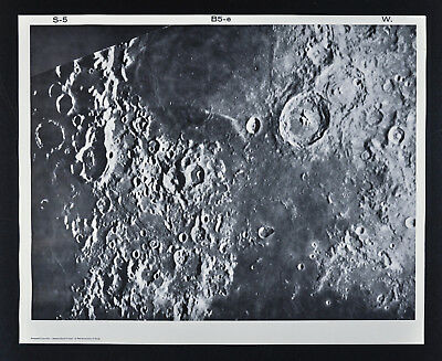 1960 Lunar Moon Map Photo Craters - Mount Wilson Observatory Plate W80 Astonomy