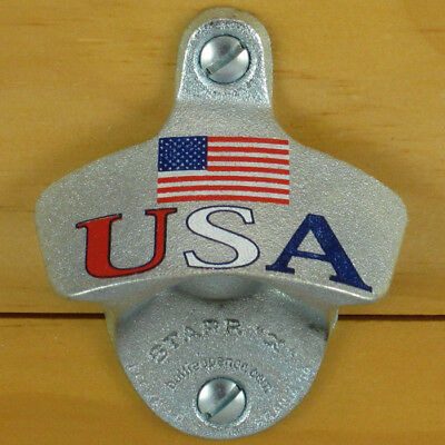 USA Flag Patriotic Starr X Wall Mount Stationary Bottle Opener Cast Iron NEW