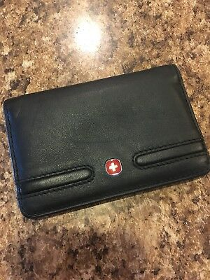 WENGER Swiss Army Black case napa leather Business Card mini wallet Red Cross