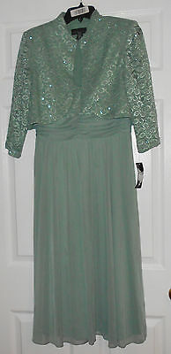 R & M Richards Sage 2 Pc Empire Waist Dress wtih Bolero Jacket Size 12P NWT