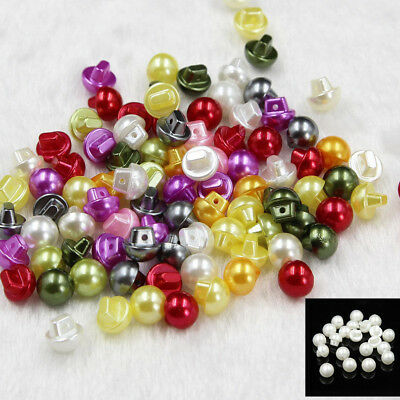100x Round Mix Color/Creamy Faux Pearl Shank Buttons Sewing Scrapbook Backhole