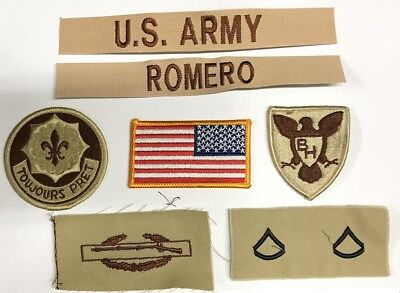 Funsport 8 US ARMY patch Set DCU Desert Uniform Konvolut 2nd ACR Stryker SGT RUSSELL Flag Airsoft