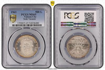 1963 MS65 Vatican City 500 Lire Sede Vacante PCGS GRADED Gem UNC