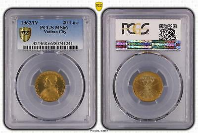 1962/IV MS66 Vatican City 20 Lire PCGS GRADED Gem UNC