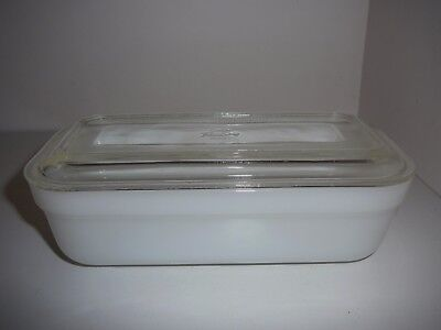 Fire King Ware Oblong Loaf Casserole Dish White with Clear Lid Anchor Hocking