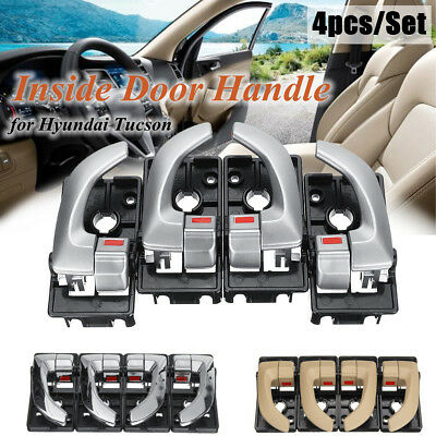 4pcs Car Inside Interior Door Handle Left + Right Set For Hyundai Tucson 2005-09
