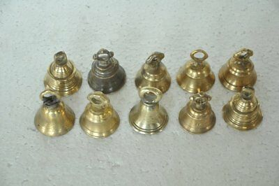 10 Pc Old Brass Fine Quality Handcrafted Small Cow Bells , Nice Patina