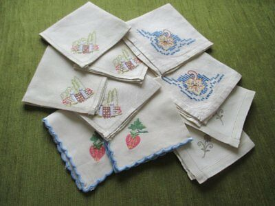 Vintage Tea Napkins - Embroidered - Collection Of 10
