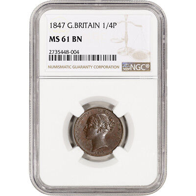 1847 Great Britian 1/4 Penny - Farthing - NGC MS61 BN