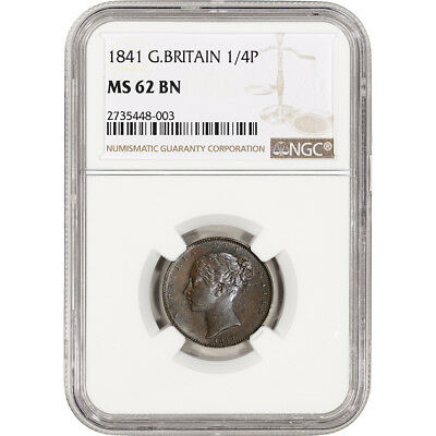 1841 Great Britian 1/4 Penny - Farthing - NGC MS62 BN