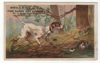 Philadelphia, PA, Sollers & Co., Fine Shoes Trade Card, Sniffing Out the Birds