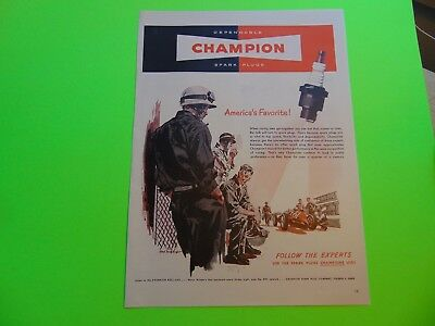 1948 CHAMPION SPARK PLUGS Race Car vintage print ad