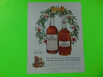 1950-OLD FORESTER WHISKEY MERRY CHRISTMAS- print ad -724