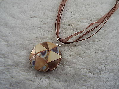 Shell Inlay Pendant Brown Voile Ribbon Necklace (C39)