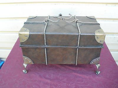 COL MS: LARGE TIN AND BRASS DECORATIVE Trunk Storage BOX