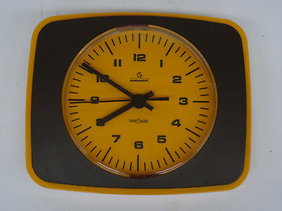 vintage pop art 70s - Quarz Wand Uhr GARANT VDO Küchenuhr orange Wanduhr 70er