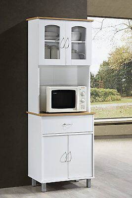Tall White Microwave Cabinet Stand Hutch Pantry Cart Storage Cupboard  Kitchen