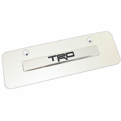Toyota TRD Name Badge On Mini Polished Stainless Steel License Plate