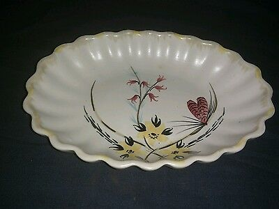 Small Vintage E. Radford England Handpainted Pottery Dish with Scalloped Edge.