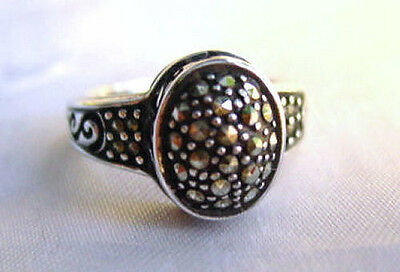 Vintage Deco Revival 925 Sterling Silver MARCASITE DOME RING Sz 7