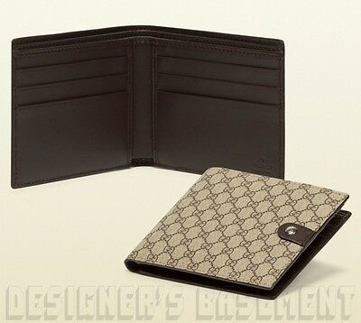 3f40fef12d8c GUCCI Mens brown Micro GG SUPREME Canvas Leather TAB bifold wallet NIB  Authentic