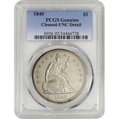 1840 US Seated Liberty Silver Dollar $1 - PCGS Genuine - UNC Detail - Cleaned