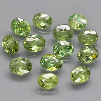13pcs Lot 3.00ct t.w Oval Natural Yellowish Green Demantoid Garnet, Madagascar